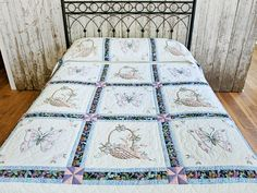 Embroidered Quilt -- wonderful specially made Amish Quilts from Lancaster Rag Quilt, Quilt Bedding, Quilt Blocks, Hand Embroidery Patterns, Vintage Embroidery, Machine Embroidery Designs, Country Quilts, Amish Quilts, Embroidered Quilts