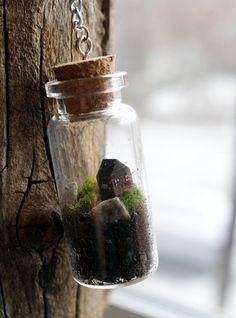Terrarium bottle necklace- tiny cabin
