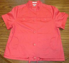 CJ Banks Coral Orange Short Sleeved Jacket Women's EUC Size XL #CJBanks #CasualJacket
