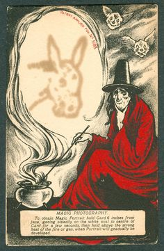 Vintage Halloween Witch In Red Postcard - Magic Portrait Photography #Halloween