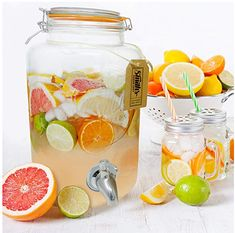 5 Litre Drinks Dispenser with Steel Spigot, no block wire mesh and gift tag, by Smiths Mason Jars it's the Ultimate Drinks cooler. Mason Jars, Mason Jar Gifts, Kombucha, Sangria, Margarita, Gold Drinks, Tea Drinks, Alcoholic Drinks, Mason Jar Drink Dispenser