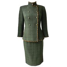 Chanel 10A Shanghai Runway Dark Green Skirt Suit | From a collection of rare vintage suits, outfits and ensembles at https://www.1stdibs.com/fashion/clothing/suits-outfits-ensembles/