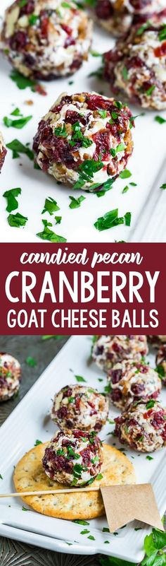 Quick, easy, and totally delicious, these Mini Candied Pecan Cranberry Goat Cheese Balls make a tasty party appetizer for fancy yet fuss-free entertaining! Ready in 10 minutes.