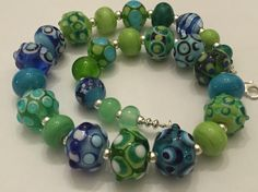 Necklace with handmade lampworkbeads