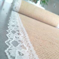 Chemin de table 5 mètres en jute et dentelle pour mariage ou maison : Textiles et tapis par save-your-deco