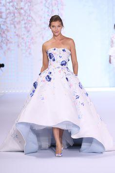 Blue floral Ralph & Russo wedding dress
