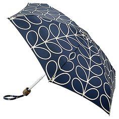 Buy Orla Kiely Tiny Linear Leaf Print Folding Umbrella, Slate Online at johnlewis.com