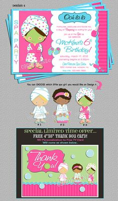 New Spa Party Invite. & you choose which little spa girl you would like on your invite! Girls Pamper Party, Kids Spa Party, Spa Birthday Parties, Slumber Parties, Birthday Fun, Sleepover Party, Birthday Ideas, Spa Party Invitations, Invites