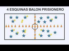 4 ESQUINAS BALON PRISIONERO - Juegos Educación Física - YouTube