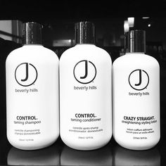 Do you battle with frizz & unruly hair?! Our Control taming shampoo + conditioner has got you covered! Followed by our #jbeverlyhills Crazy Straight styling lotion for that smooth, sleek look!