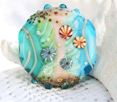 Beachy lampwork glass focal bead in aqua and teal - SRA - handmade ooak