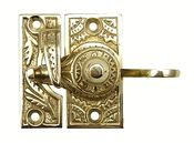 Eastlake Solid Brass Window Lock (Polished Brass) - ornate design and comes with the turn mechanism, catch and mounting hardware. Available in Polished Brass (shown) and Antique Brass.