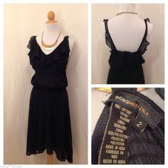 BCBG MAX AZRIA Navy Blue Ruffle Front Hi Low Hem Summer Dress Size 2 #BCBGMAXAZRIA #AsymmetricalHem #SummerBeach