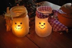 Frosted Snowman Tealight Holders Tutorial.