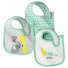 JUST ONE YOU® Made by Carters Newborn Boys' 3 Pack Bib Set - Green/Grey