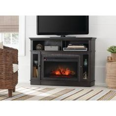 Home Decorators Collection Grafton 46 in. Media Console Infrared Electric Fireplace in Anthracite Finish WSFP46ECHD-9 at The Home Depot - Mobile