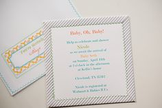 striped, embroidered baby shower invitation printables