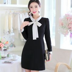 looknice Bow Front Long-Sleeve Shift Dress | YESSTYLE