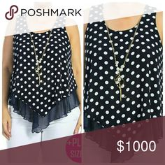"""⚫️⚫️HP Polka Dot Top!!! Plus Size Polka Dot Sleeveless Top With Mesh and Necklace Detail   Fabric: 100% Polyester   Made in USA   1XL   Bust: 42.5""""  Length: 29""""   2XL   Bust: 44""""  Length: 29""""   3XL  Bust:  48""""  Length: 29"""" Tops Blouses"""