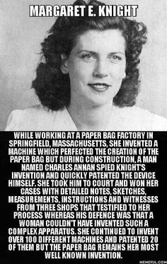Margaret E. Inventor of the paper bag. Margaret E. Inventor of the paper bag. Margaret E. Inventor of the paper bag. Margaret E. Inventor of the paper bag. Great Women, Amazing Women, Angst Quotes, The Paper Bag, Paper Paper, Paper Bags, Inspirational Quotes For Women, Inspiring Women, Inspiring Quotes