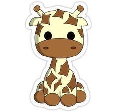 'Cute baby giraffe cartoon' Sticker by pixxart Cute Little Drawings, Cute Cartoon Drawings, Kawaii Drawings, Cartoon Art, Cartoon Stickers, Kawaii Stickers, Cool Stickers, Giraffe Drawing, Baby Animal Drawings