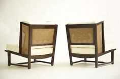 Edward Wormley for Dunbar Wingback Lounge Chairs, 1952. Mahogany wood, caning and upholstery.