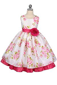 Flower Girl Dress Style 140 - Floral Taffeta Dress in Choice of Color
