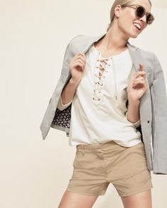 "J.Crew Looks We Love: women's lace-up T-shirt, Regent blazer in seersucker, 4"" stretch chino short and Frankie sunglasses."