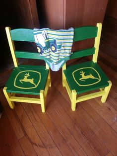 Set of Hand Painted John Deere kids chairs sold for 59.99
