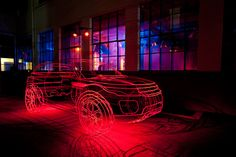 434b685c2e7 benedict radcliffe's most recent collaboration with land rover, a wireframe  art installation of the range rover evoque.