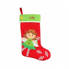 Personalized kids Angel stocking, Stephen Joseph Christmas Stockings, Girls Christmas Angel Stocking by on Etsy Kids Stockings, Quilted Christmas Stockings, Christmas Angels, Christmas Crafts, Christmas Decorations, Christmas Parties, Family Christmas, Christmas Time, Christmas Ideas