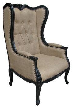Burlap upholstered wingback chair- different fabrics for head chair in dining room
