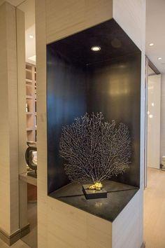About Us - Kelly Hoppen Interiors Niche Design, Column Design, Wall Design, House Design, Columns Decor, Wall Nook, Art Niche, Artwork Lighting, Kelly Hoppen