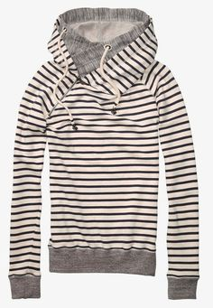 Cute stripe print sweater with double layer hoodie   Women FashionGalaxy