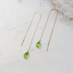 Peridot Jewelry, 18k Gold Earrings, Peridot Earrings, Chain Earrings, Birthstone Jewelry, Green Earrings, Gold Necklace, Gold Jewellery Design, Gold Jewelry