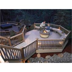 Outdoor deck fire place and lower hot tub landing