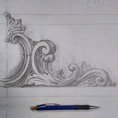 Biggest Furniture Store In The World Refferal: 9891719584 Design Art Drawing, Drawing Artist, Pattern Drawing, Painting & Drawing, Wood Carving Designs, Wood Carving Patterns, Drawing Furniture, Trumeau, Ornament Drawing