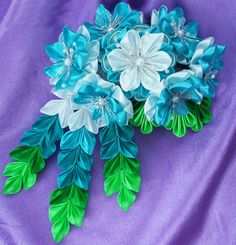 Flower Blossom Comb See Queen by KanzashiAccessories on Etsy