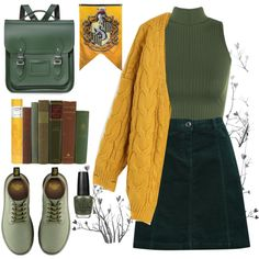 Hufflepuff by riley-callen on Polyvore featuring Chicwish, WearAll, M&Co, Dr. Martens, The Cambridge Satchel Company and OPI