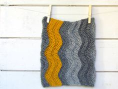 Chevron Cowl  Chunky grey and mustard  stripe by theYarnKitchen, $78.00