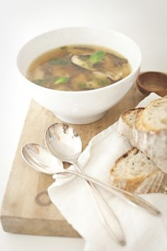 White Bean, Shiitake Soup with Herb Oil.