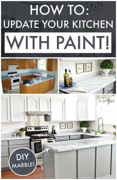 DIY Kitchen Makeover on a Budget. Giani Granite Countertop Paint kits transform existing counters to the look of natural stone and Nuvo Cabinet Paint is a one-day makeover process. www.gianigranite.com