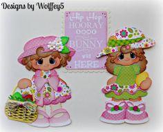 ELITE4U GIRL EASTER paper piecing premade scrapbook page album border WOLFFEY5