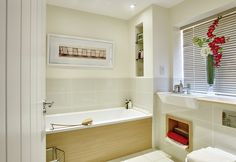 This modern looking bathroom at The Lanes Wickhurst Green is superbly designed to create a relaxed and specious feel.