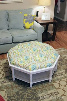 old coffee table into an ottoman