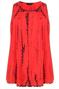 Orange Tie Dye Print Lace Trim Top With Pleating Detail