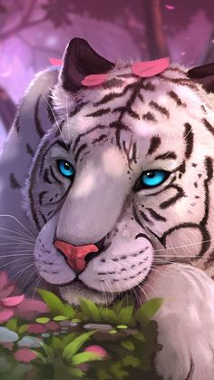 Cute Cartoon Animals, Anime Animals, Cute Animals, Tiger Wallpaper, Animal Wallpaper, Bling Wallpaper, Big Cats Art, Cat Art, Tiger Spirit Animal