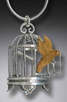 Fossilized Ivory Jewelry necklace birdcage bird parrot canary