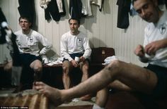 Greaves sits in the changing room at Anfield alongside Jimmy Robertson and Alan Gilzean after Tottenham suffered a 1-0 defeat to Liverpool