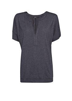 MANGO - Open mao neckline t-shirt, pair w/ slim legged work pants and blazer